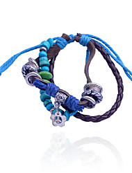 Vintage Style Bead Pendant Alloy  Leather Bracelet