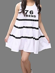 Menina de Vestido,Casual Algodão Verão Preto / Branco