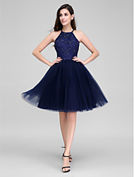 TS Couture® Cocktail Party Dress - Dark Navy Ball Gown Halter Knee-length Lace / Tulle
