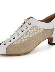 Customizable Women's Dance Shoes Latin / Dance Sneakers / Salsa Leatherette Customized Heel Black / White