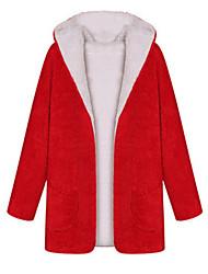 Manteau Aux femmes Manches Longues Simple / Street Chic Coton