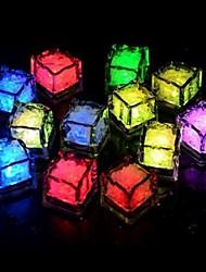 24pçs azul / vermelho / verde / rosa / amarelo / RGB / cubos de gelo LED branco casamento luz partido restaurante natal bar