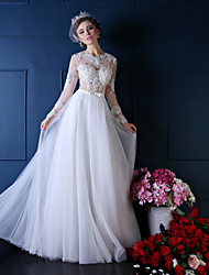 Princess Wedding Dress-Floor-length Jewel Lace / Tulle