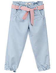 Pantalones Chica deAlgodón-Todas las Temporadas-Azul