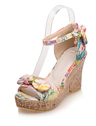 Women's Shoes PU Wedge Heel Wedges / Peep Toe Sandals Dress / Casual Yellow / Pink