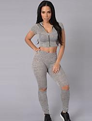 Damen Set - Reißverschluss Baumwolle Kurzarm V-Ausschnitt