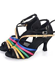 Customizable Women's Dance Shoes Belly / Latin / Dance Sneakers / Modern/ Samba Satin Flared Heel Black
