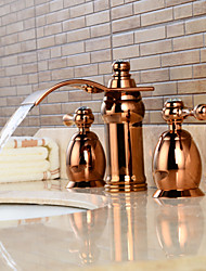 Contemporary Widespread Waterfall / Widespread with  Ceramic Valve Two Handles Three Holes for  Rose Gold , Bathroom Sink Faucet