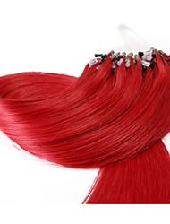 neitsi® 20inch micro anneau boucles extensions de cheveux humains anneaux rouges de cheveux humains