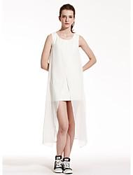 Meters/bonwe Women's Round Neck Sleeveless Asymmetrical Dress-233869