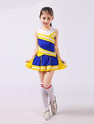 Fantasias para Cheerleader Roupa Crianças Actuação Poliéster Plissado 2 Peças Sem Mangas Alto Saia / Top