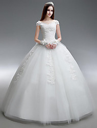 Princess Wedding Dress Floor-length Scoop Organza / Satin with Beading / Ruffle