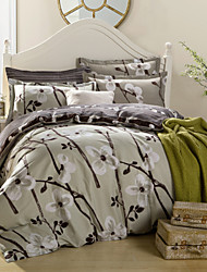 Plum flower 100% Cotton Bedclothes 4pcs Bedding Set Queen Size Duvet Cover Set good qulity