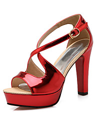 Women's Shoes Chunky Heel Heels / Peep Toe / Platform Sandals Party & Evening / Dress / Casual Red / Silver / Gold
