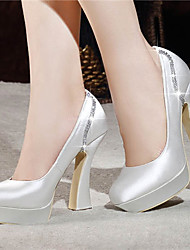 Women's Spring Summer Fall Winter Platform Satin Wedding Dress Party & Evening Chunky Heel Platform Crystal Red White Champagne