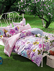 Dream Florid, Full Cotton Reactive Printing Pastoral Flowers Bedding Set 4PC, FULL Size
