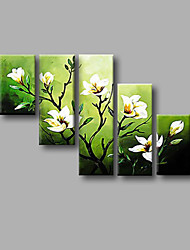 "Stretched (ready to hang) Hand-painted Oil Painting 50""x32"" Canvas Wall Art Modern Flowers White Green"
