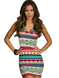 Women's Casual/Daily Simple Bodycon Dress,Striped Round Neck Above Knee Sleeveless Blue / Gray / Green Polyester Summer