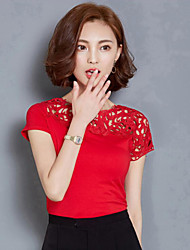 Women's Solid Red / White / Black Blouse,Round Neck Short Sleeve