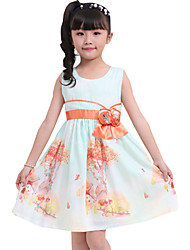 Girl's  Dress Tree Flower Print Belt Cute Party Birthday Baby Children Clothing  Dresses