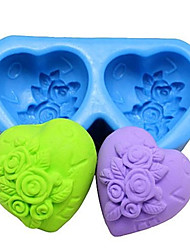 Heart shaped Rose Fondant Cake Chocolate Silicone Mold