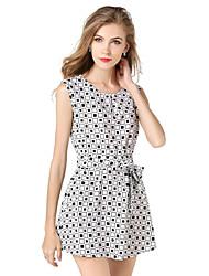Black And White Plaid Sleeveless Summer Models Round Neck Chiffon Dress Containing Belt