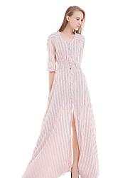 Damen Kleid - Swing Leger / Strand Gestreift Maxi Baumwolle V-Ausschnitt