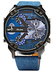 Oulm Men's Sport Watch Military Watch Dual Time Zones Quartz Leather Band Cool Luxury Blue
