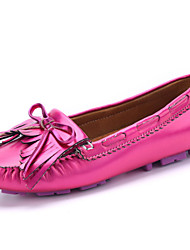 Women's Shoes Leather Loafers / Boat Shoes Office & Career / Party & Evening / Casual Pink / Red / Silver