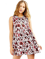 Women's Simple / Cute Floral A Line Dress,Round Neck Mini Polyester