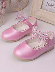 Girl's Flats Spring Summer Fall Comfort Leather Wedding Dress Party & Evening Bowknot Pink Red Peach