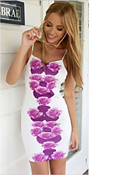 Women's Beach Sexy Sheath Dress,Floral Strap Mini Sleeveless Multi-color Polyester Summer