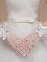 Wrist Length Fingertips Glove Lace / Net Bridal Gloves / Party/ Evening Gloves Floral / Bow / lace