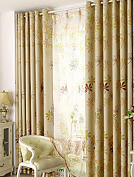 Two Panels Living Room Polyester Blackout Curtains Drapes