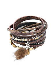 leather Charm BraceletsFashion Trendy 4 Rows Crystal Set /BeadsBracelet/Star/ Fur Charm Leather Wrap Bracelet