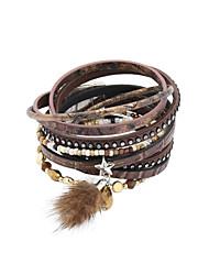 Dame Wrap Armbånd Læder Armbånd luksus smykker Læder Akryl Rhinsten Fjer Imitation Diamond Legering Stjerneformet Brun Grøn Blå Smykker
