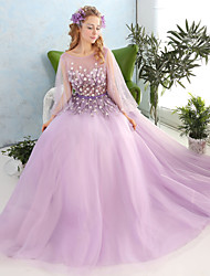 Formal Evening Dress - Open Back Ball Gown Jewel Floor-length Lace Tulle with Appliques Beading Crystal Detailing Flower(s) Lace Sequins