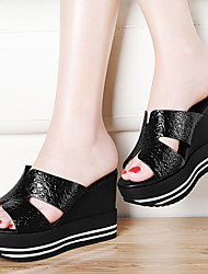Women's Shoes Leatherette Wedge Heel Wedges Sandals Office & Career / Dress / Casual Black / Silver