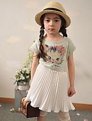 Vestido Chica de-Verano-Algodón-Verde / Blanco