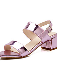 Damen Sandalen Pumps Lackleder PU Sommer Kleid Pumps Blockabsatz Gold Silber Rosa 2,5 - 4,5 cm