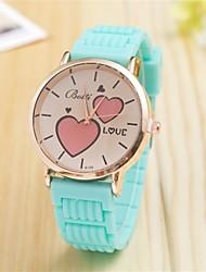 L.WEST Ladies' Heart LOVE Silicone Quartz Watch