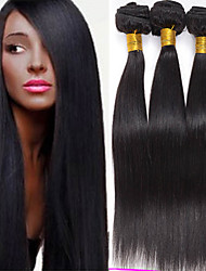 cabello humano recto virginal brasileña del pelo 4pcs teje brasileño caliente de la venta directa de pelo negro 8-26 pulgadas natural.