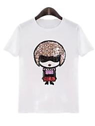 Summer Plus Sizes Women's Fashion Cartoons Printing Round Neck Short Sleeve T-shirt Blouse Tops