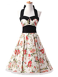 50s Era Vintage Style Halter Neck Buttons Rockabilly Dress Cosplay Costume Cream Floral (with Petticoat)
