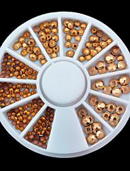 1wheel Mix Sizes Gold Rhinestones 3d Nail Art Decorations