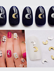 50pcs New Gold Silver Alloy Rhinestone Moon Shape Design Nail Accessories Studs DIY 3d Nail Jewelry Manicure Tools