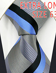 Men's Tie Light Blue Gray Stripes 100% Silk Business  Dress Casual Long