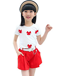 Girl's Red Clothing Set Cotton Summer