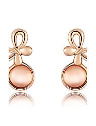 Women's Fashion Bowknot Agate Crystal Stud Earrings