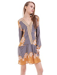 Women's Boho/Fine Stripe Beach Loose Dress,Floral Deep V Mini Long Sleeve Gold Cotton Fall